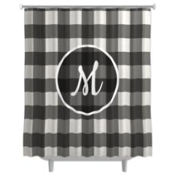 Thumbnail for Photo Shower Curtain with Buffalo Check Monogram design 1