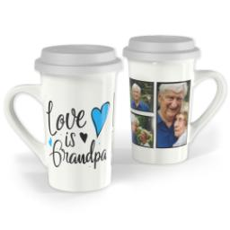 Thumbnail for Premium Grande Photo Mug with Lid, 16oz with Grandpa Hearts design 1