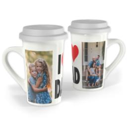 Thumbnail for Premium Grande Photo Mug with Lid, 16oz with I Heart Dad design 1