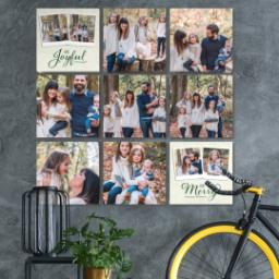 "Thumbnail for 9 Piece Multi-Piece Canvas (31"" x 31"") with Nine Photo Burst: Be Joyful Be Merry design 4"