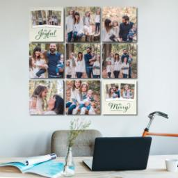 "Thumbnail for 9 Piece Multi-Piece Canvas (31"" x 31"") with Nine Photo Burst: Be Joyful Be Merry design 5"