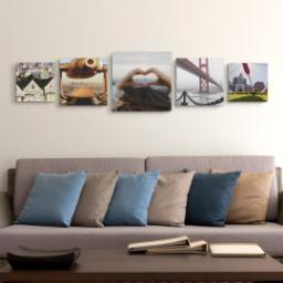 "Thumbnail for 5 Piece Canvas Cluster (16""x 60"") with Picture It Squared: Multi Photo design 4"