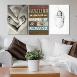 "Thumbnail for 3 Piece Canvas Cluster (24"" x 52"") with Three Of A Kind: Family Means Forever design 4"