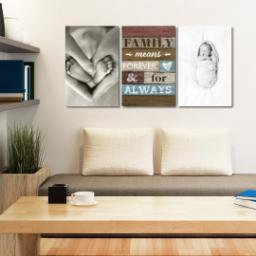 "Thumbnail for 3 Piece Canvas Cluster (24"" x 52"") with Three Of A Kind: Family Means Forever design 5"