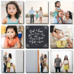 "Thumbnail for 9 Piece Canvas Cluster (31"" x 31"") with Nine Photo Burst: God is Love design 1"