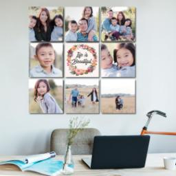 "Thumbnail for 9 Piece Canvas Cluster (31"" x 31"") with Nine Photo Burst: Life is Beautiful design 5"