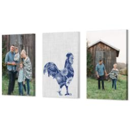 "Thumbnail for 3 Piece Canvas Cluster (24"" x 52"") with Three Of A Kind: Linen Farm design 2"