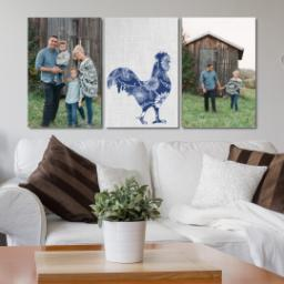 "Thumbnail for 3 Piece Canvas Cluster (24"" x 52"") with Three Of A Kind: Linen Farm design 4"