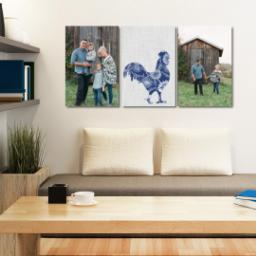 "Thumbnail for 3 Piece Canvas Cluster (24"" x 52"") with Three Of A Kind: Linen Farm design 5"