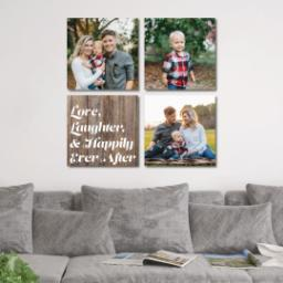 "Thumbnail for 4 Piece Canvas Cluster (34"" x 34"") with Four Square: Love, Laughter & Ever After design 4"
