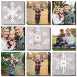 "Thumbnail for 9 Piece Canvas Cluster (31"" x 31"") with Nine Photo Burst: Snowflakes design 1"