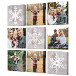 "Thumbnail for 9 Piece Canvas Cluster (31"" x 31"") with Nine Photo Burst: Snowflakes design 2"