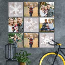 "Thumbnail for 9 Piece Canvas Cluster (31"" x 31"") with Nine Photo Burst: Snowflakes design 4"
