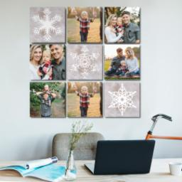 "Thumbnail for 9 Piece Canvas Cluster (31"" x 31"") with Nine Photo Burst: Snowflakes design 5"