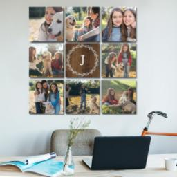 "Thumbnail for 9 Piece Canvas Cluster (31"" x 31"") with Nine Photo Burst: White Wreath on Wood design 5"