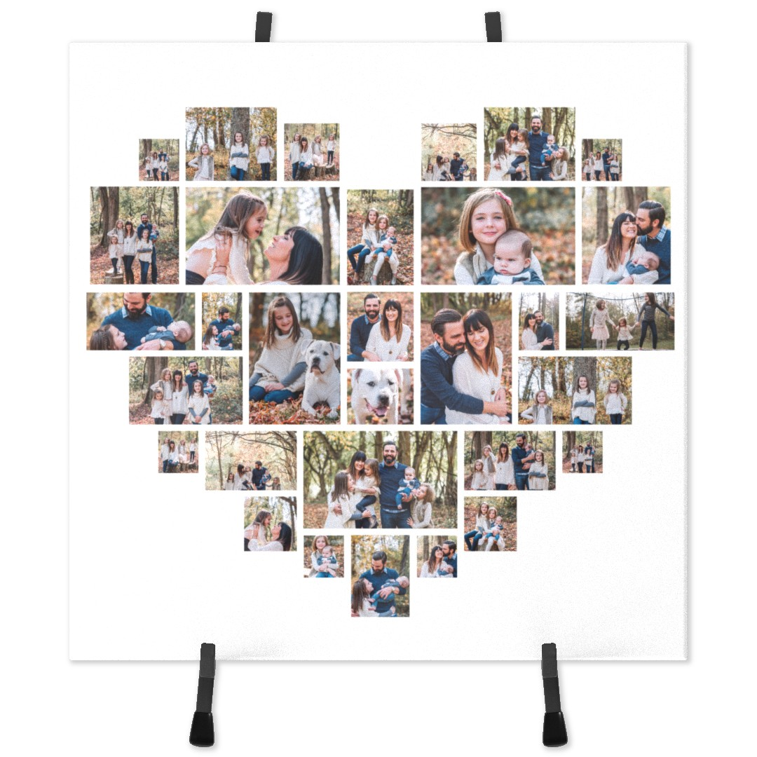With this ceramic picture tile, you can keep your memories close to your heart! This custom tile features your favorite photos in a heart shape and includes a stylish display of metal stands. It is a great gift for your partner and will catch everybody's eyes first when they come to your house.