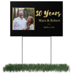 Thumbnail for Photo Lawn Sign 12x18 (with H-Stake) with Anniversary - Black design 1