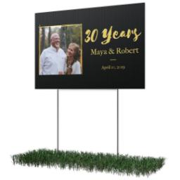 Thumbnail for Photo Lawn Sign 12x18 (with H-Stake) with Anniversary - Black design 2