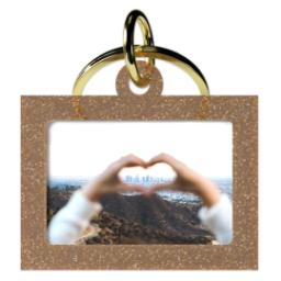 Thumbnail for Acrylic Photo Keychain - Horizontal Rectangle, Gold Sparkle with Full Photo design 1