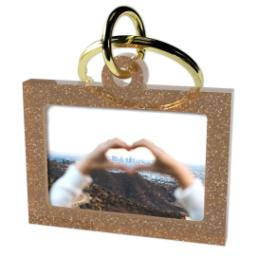 Thumbnail for Acrylic Photo Keychain - Horizontal Rectangle, Gold Sparkle with Full Photo design 2