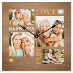 Thumbnail for Metal Photo Wall Clock with Love & Happiness design 1