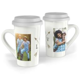 Thumbnail for Premium Grande Photo Mug with Lid, 16oz with Arrow Love design 1