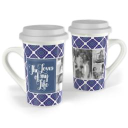 Thumbnail for Premium Grande Photo Mug with Lid, 16oz with Family Loves design 1