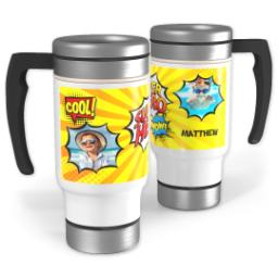 Thumbnail for Stainless Steel Photo Travel Mug, 14oz with Super Hero design 1