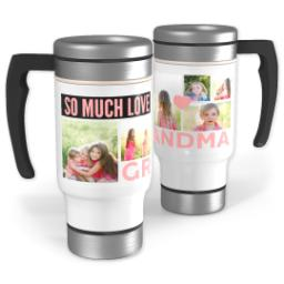 Thumbnail for Stainless Steel Photo Travel Mug, 14oz with Grandma Heart design 1