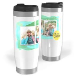 Thumbnail for Premium Tumbler Photo Travel Mug, 14oz with Grandma Watercolor Splash design 1