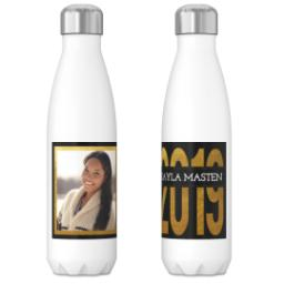 Thumbnail for 17oz Slim Water Bottle with Black and Gold Knock out design 3