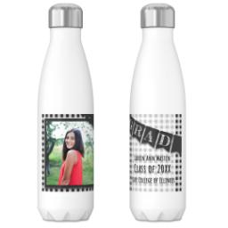 Thumbnail for 17oz Slim Water Bottle with Checkered Chalk Board design 3