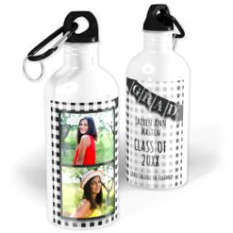 Thumbnail for Photo Water Bottle, 20oz with Checkered Chalk Board design 1