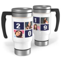 Thumbnail for Stainless Steel Photo Travel Mug, 14oz with 2019 Grad Block design 1