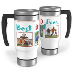 Thumbnail for Stainless Steel Photo Travel Mug, 14oz with Best Dad Ever Heart design 1