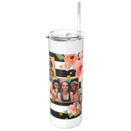 Thumbnail for Tumbler with Straw, 20oz with Bold Floral Stripes design 1