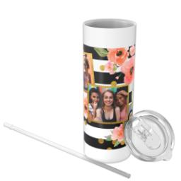 Thumbnail for Tumbler with Straw, 20oz with Bold Floral Stripes design 3