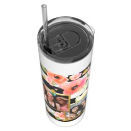 Thumbnail for Tumbler with Straw, 20oz with Bold Floral Stripes design 4