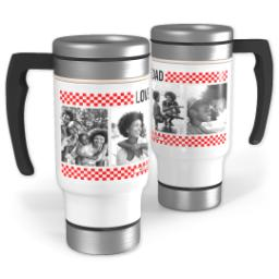 Thumbnail for Stainless Steel Photo Travel Mug, 14oz with Dad Checkers Red design 1