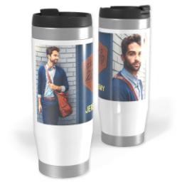 Thumbnail for Premium Tumbler Photo Travel Mug, 14oz with Denim Grad design 1