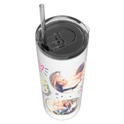 Thumbnail for Tumbler with Straw, 20oz with Fun Cirlces design 4