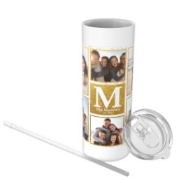 Thumbnail for Tumbler with Straw, 20oz with Golden Monogram design 3