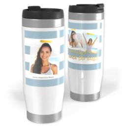 Thumbnail for Premium Tumbler Photo Travel Mug, 14oz with Graduate Stripe Blue design 1