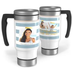 Thumbnail for Stainless Steel Photo Travel Mug, 14oz with Graduate Stripe Blue design 1