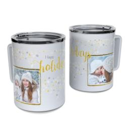 Thumbnail for Insulated Coffee Mug, 11oz with Happy Holidays Confetti design 1