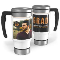 Thumbnail for Stainless Steel Photo Travel Mug, 14oz with Hipster Grad design 1