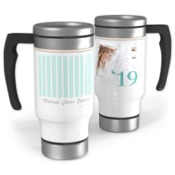 Thumbnail for Stainless Steel Photo Travel Mug, 14oz with Pattern Teal Grad design 1