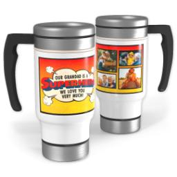 Thumbnail for Stainless Steel Photo Travel Mug, 14oz with Superhero Grandad design 1