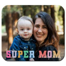 Thumbnail for Ultra Thin Rectangle Mouse Pad with Pastel Super Mom design 1