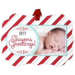 Thumbnail for Scalloped Metal Ornament with 2017 Candy Cane Greetings design 1